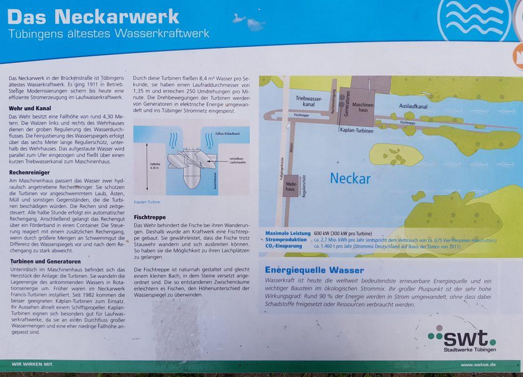 Schautafel Neckarwerk Tübingen